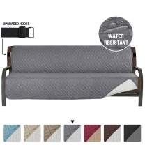 """Armless Futon Cover Futon Slipcover Full Queen Size Futon Couch Cover Futon Sofa Cover Futon Bed Cover Furniture Protector Water Repellent Soft Thick Quilted Reversible, Seat Width: 70"""", Gray/Beige"""