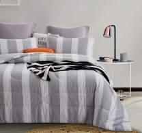 ATsense Queen Comforter Set, All Season 3-Piece 100% Cotton Fabric, Soft Microfiber Overfilled Bedding, Lightweight Reversible Duvet Insert (White&Grey, WMAQ003)