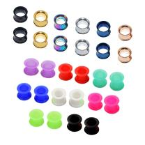 Qmcandy 4 Pairs/ 7 Pairs/ 14 Pairs Stainless Steel Screw Expander Flesh Tunnels Body Piercing Gauges 8g to 1 inch