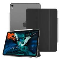 """Fintie Case for iPad Pro 12.9"""" 3rd Gen 2018 [Supports 2nd Gen Pencil Charging Mode] - Lightweight Slimshell Stand Cover with Translucent Frosted Back Protector, Auto Wake/Sleep, Black"""