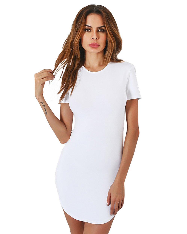 gagaopt Sexy Slim Cotton Bodycon Dress Black White Mini Short T Shirt Dress