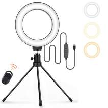 """Small Ring Light,Jeemak 6"""" Selfie Ring Light with Stand, Desktop Ring Light for Computer Laptop,3 Colors Makeup Ring Light with Remote Control for Photography Makeup YouTube Video TikTok Live Stream"""