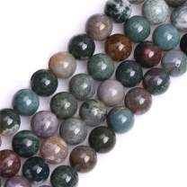 """GEM-Inside Natural 10mm Indian Agate Gemstone Loose Beads Round Crystal Energy Stone Power for Jewelry Making 15"""""""