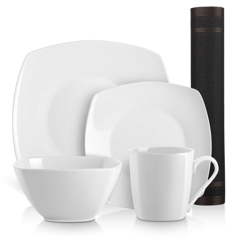 DOWAN 5 Piece Square Kitchen Dinnerware Set, Service for 1, White