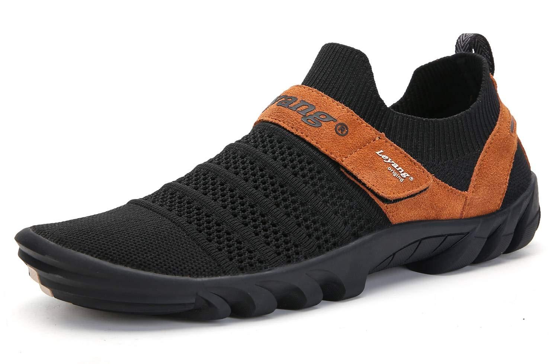 Leyang Mens Womens Running Shoes Barefoot Mesh Slip-on Walking Sneakers Zero Drop Sole