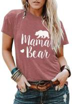 Women Mama Bear Graphic T-Shirts Cotton Short Sleeve O-Neck Cute Letter Print Comfy Loose Blouse Tops Tees