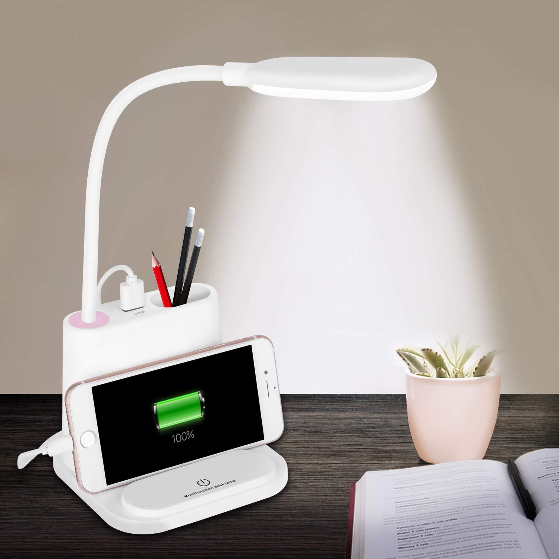 LED Desk Lamp, NovoLido Rechargeable Desk Lamp with USB Charging Port & Pen Holder, 2 Color Modes & Stepless Dimming, 360° Flexible Metal Hose, Mini Cute Lamp for College Dorm Bedroom Reading (White)