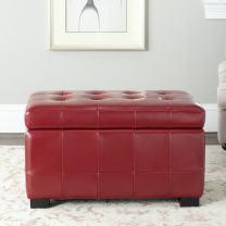 Safavieh Hudson Collection Nolita Leather Small Storage Bench, Red