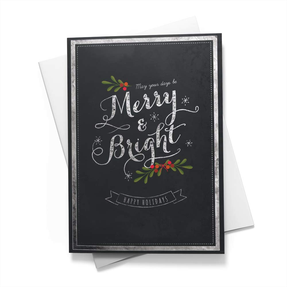 Merry & Bright Card - Christmas Cards | 25 Standard Greeting Cards with Your Custom Message and Envelopes | Printed in the USA