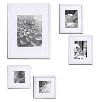 """Gallery Perfect Gallery Wall Kit Photo Decorative Art Prints & Hanging Template Picture Frame Set, Multi Size - 8"""" x 10"""", 5"""" x 7"""", 5"""" x 5"""", White, 5 Piece"""