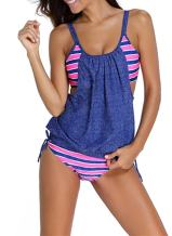 EVALESS Women Print Sporty Double Up Layered Two Piece Tankini Sets Swimsuits