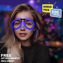 Lumistick Aviator Glow Eyeglasses | Light Up Neon Glow Eyewear | Illuminating Eye-catching Party Wear | Non-Toxic & Kids Safe Light Up Fluorescent Specs with Connectors (Blue, 200 Eyeglasses)