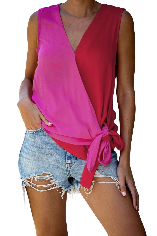 Aleumdr Womens Color Block Shirts V Neck Wrap Tie Knot Front Tank Tops Summer T-Shirt Blouses