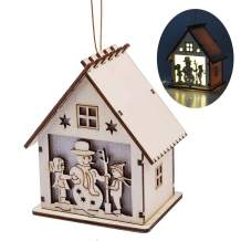 eZAKKA LED Light Wooden Hanging Ornaments for Christmas Holiday, Cute Wood House Christmas Tree Hanging Ornament Decoration (Snowman)