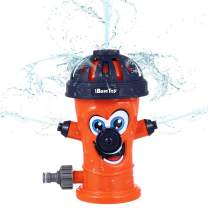 iBaseToy Fire Hydrant Sprinkler for Kids, Sprays Up to 8 Ft, Water Sprinkler Toys for Children Toddlers Boys Girls Dogs, Spray Water Toy for Backyard Lawn Yard Outdoor Play