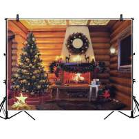 O-Heart 7x5ft Christmas Photo Backdrop, Farmhouse Wood Cabin Theme Photography Vinyl Backdrop Portrait Photo Studio Booth Photographer Props for Xmas Party Supplies