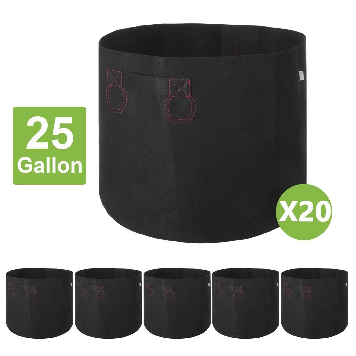 IDIGAO 20-Pack 25 Gallon Grow Bags 25 Gallon Fabric Pot for Plants Breathable Potato Planting Bag Planter with Handles