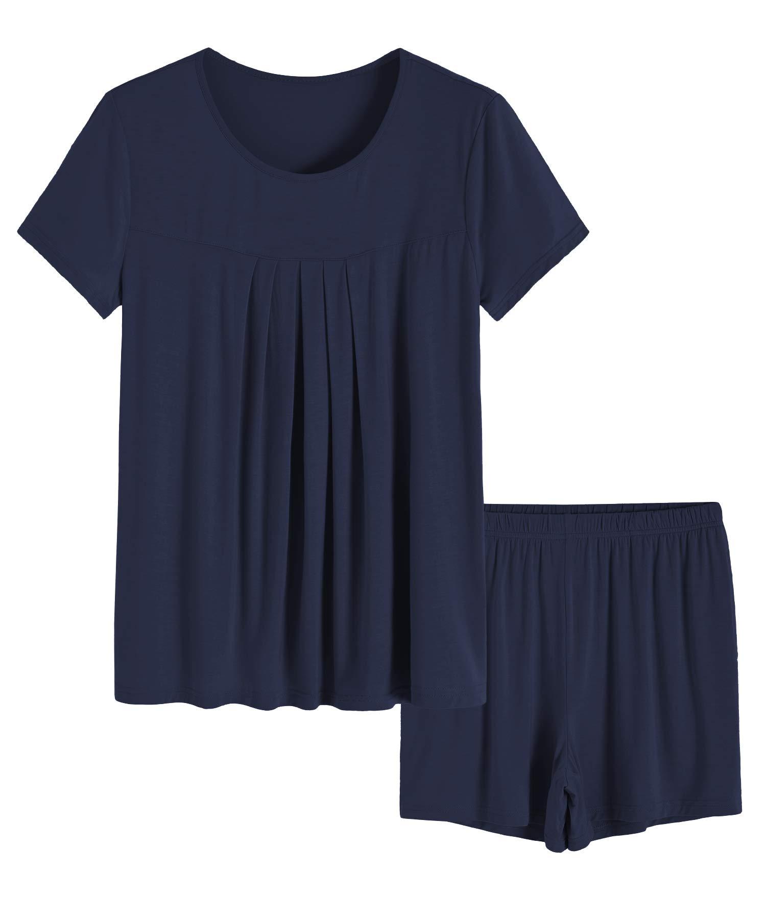Latuza Women's Summer Pleated Top Shorts Pajamas Set with Pockets