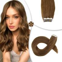 Hetto 24 Inch Glue in Hair Extensions Brazilian Hair 100G 40Pcs #8 Dirty Brown Real Hair Tape in Extensions Double Sided Hair for Women Thick