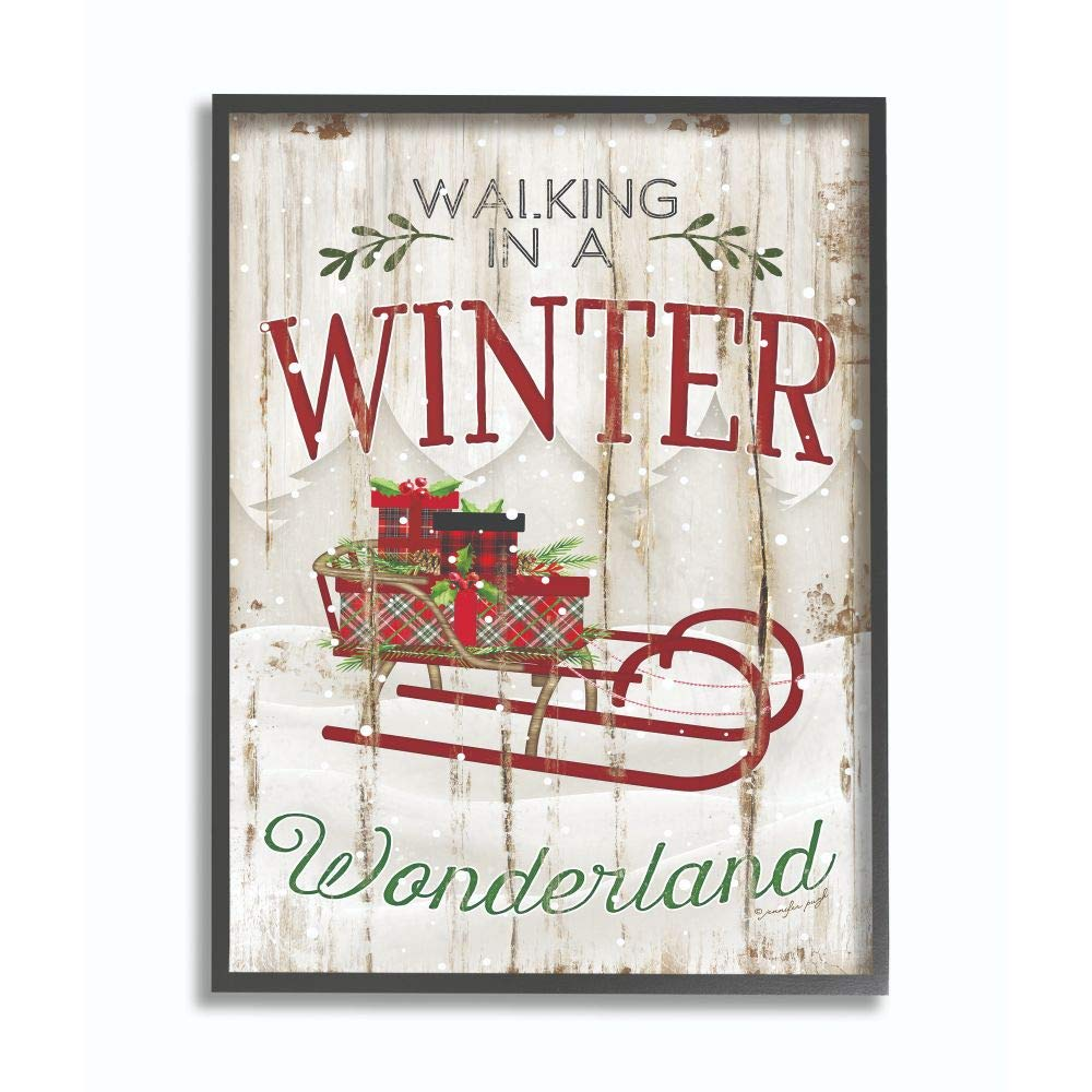 Stupell Industries Winter Wonderland Red Sleigh Wood Texture Christmas Word Design Framed, 16 x 20, Multi-Color