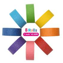 Colored Masking Tape Rainbow Assorted Painters Colorful Craft Art Washi Tape Set for Kids Labeling DIY Decorative Coding Classroom Home Office Decoration Teaching Supplies (14.2yd/Roll 8Rolls)