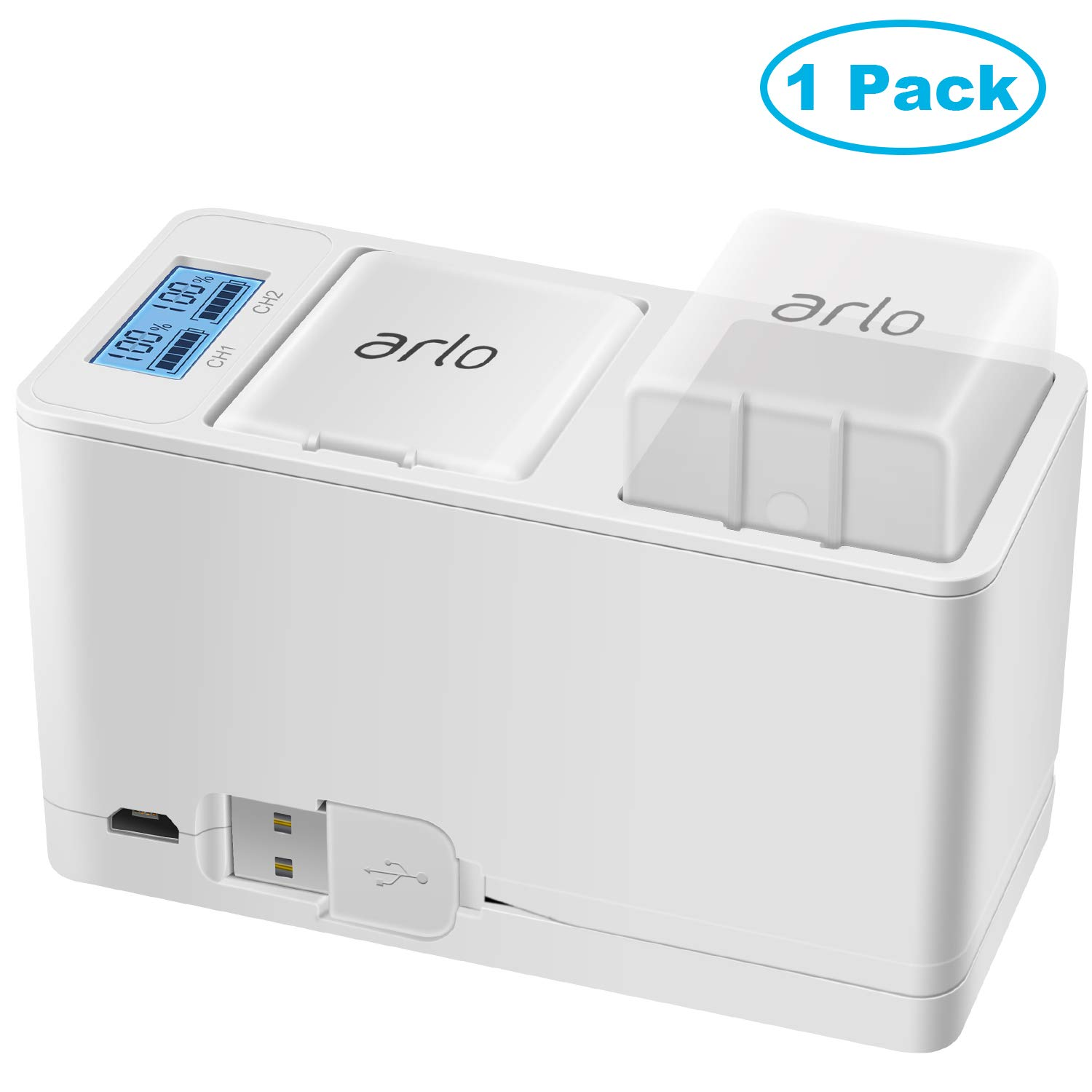 Feirsh Dual Charging Station and 1- Pack 2440mAh Rechargeable Battery for Arlo Pro/Pro 2 Camera