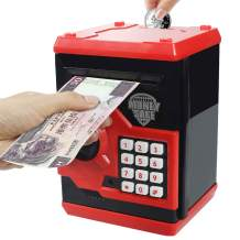 Sikaye Piggy Banks Best Gift for Kids Children Electronic Code Lock Money Banks with Password Mini ATM Money Save for Paper Money and Coins, Great for Boys & Girls (Black/Red)