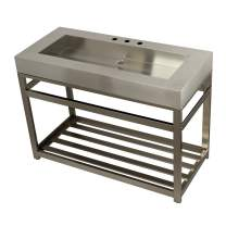"""Kingston Brass KVSP4922A8 Kingston Commercial 49"""" Stainless Steel Iron Bathroom Console Sink Base, Brushed/Brushed Nickel"""
