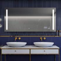 LED Lighted Bathroom Mirror (Width 24 inch x Height 28 inch) with Solid Cover on the Back Wall-Mounted Premium Mirror IP44 with Switch, LED Clock, Make-Up Mirror   Customizable   15 Frame color