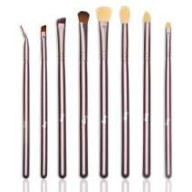 Qivange Eye Brushes, Eyeshadow Blending Cosmetics Makeup Brush Kit (8pcs Coffee Gold)