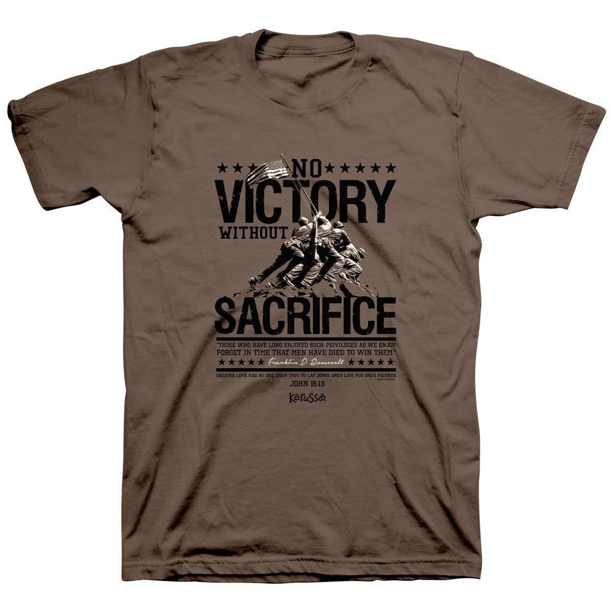Kerusso Men's Roosevelt No Victory Without Sacrifice T-Shirt - Brown Savanah -