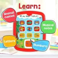 Learning Tablet for Toddlers and Kids Age 8 Months+, Educational and Interactive Touch Pads for Children to Learn Numbers, Alphabet, Animals, and Play Music, with Lights, Sounds and Asks Questions