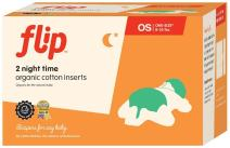 Flip Organic Night Time Inserts - Made with 100% Organic Cotton - 2 Pack