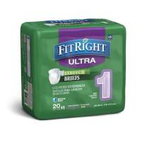 """FitRight Stretch Ultra Adult Briefs, Disposable Incontinence Diapers with Tabs, Heavy Absorbency, Medium/Regular 30""""-52"""", 4 Packs of 20 (80 Total)"""