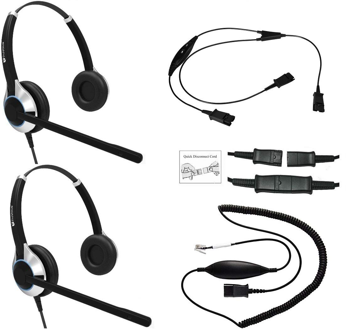 Headset Training Solution (Includes 2 x TruVoice HD-550 Deluxe Double Ear headsets with Noise Canceling Microphone, Training Cord and Smart Lead Works on 95% of Phones with RJ9 / RJ11 Headset Port)