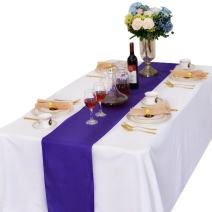 LOVWY Pack of 10 Satin Table Runners 12 x 108 Inches for Wedding Party Engagement Event Birthday Graduation Banquet Decoration (Colors Optional) (Purple)