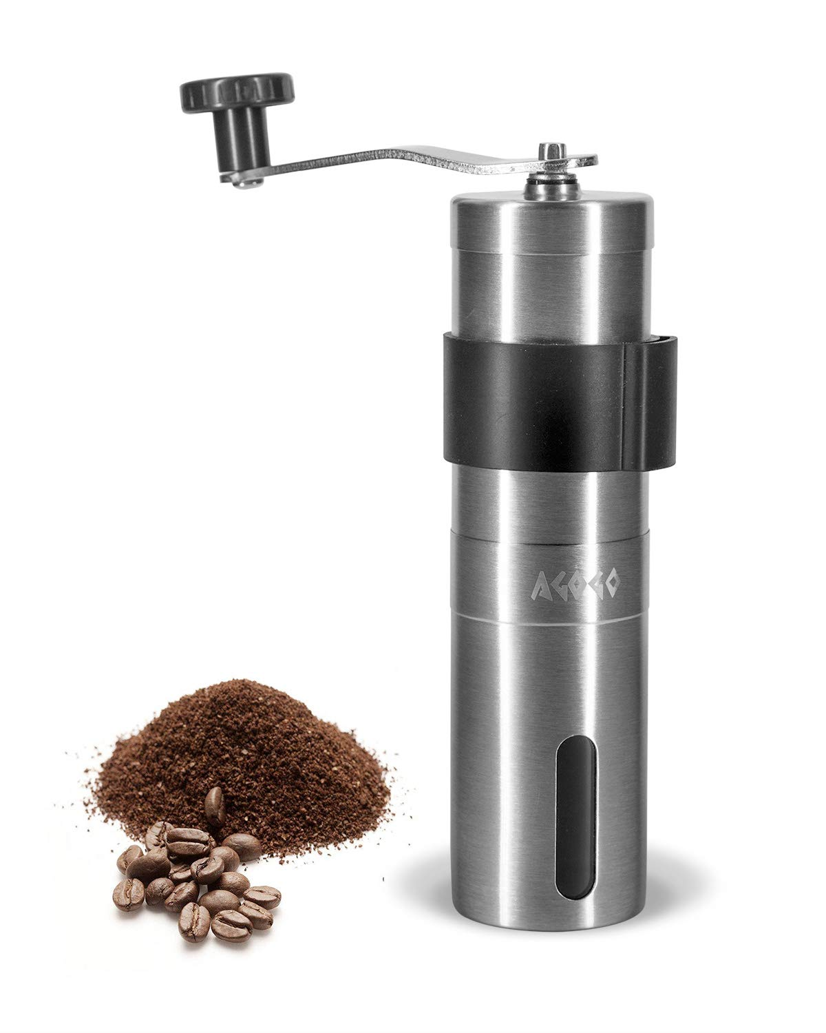 AGOGO Manual Coffee Grinder with Adjustable Setting 304 Stainless Steel Bottle