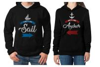 She's My Sail He's My Anchor Matching Couples Hoodies