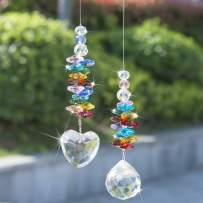 H&D HYALINE & DORA Hanging Crystal Suncatcher Rainbow Maker with Heart Prism Pendant and Crystal Prism Ball and Chakra Colored Beads,for Window Decor,Pack of 2