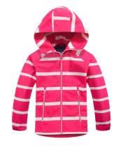 M2C Boys Girls Striped Windproof Fleece Lined Jackets Waterproof Outerwear with Hood