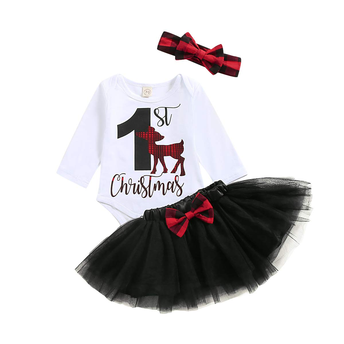 Infant Baby Girl Outfits Letter Print My 1st Christmas Romper + Red Plaid Headband+Bowknot Tutu Christmas 3pc Dress Set