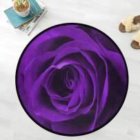 Naanle Floral Flower Anti Fatigue Round Area Rug, Purple Rose Non Slip Absorbent Comfort Round Rug Floor Carpet Yoga Mat for Entryway Living Room Bedroom Sofa Home Decor (3' in Diameter)