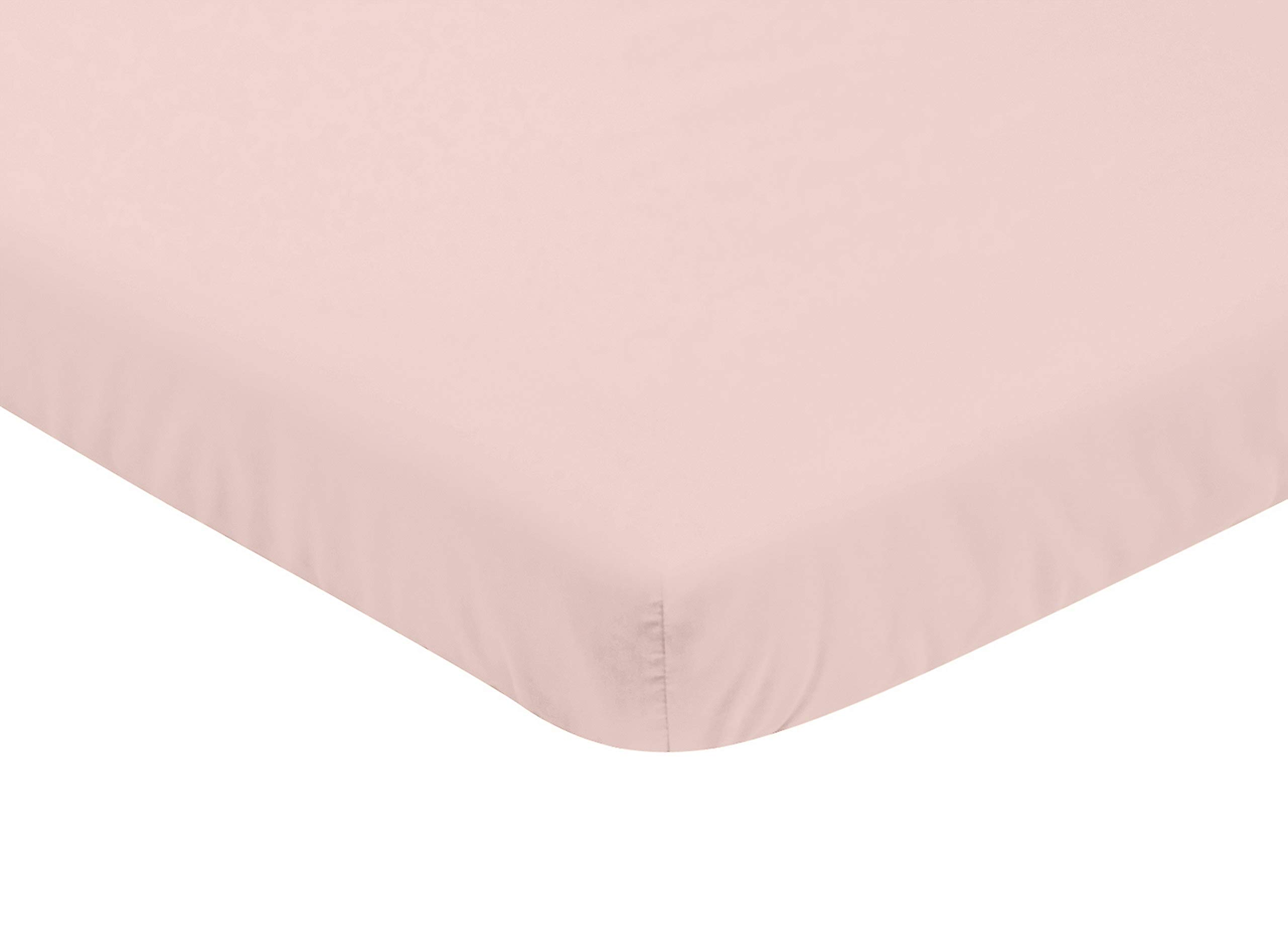 Sweet Jojo Designs Solid Blush Pink Baby Girl Fitted Mini Portable Crib Sheet for Watercolor Floral Collection - for Mini Crib or Pack and Play ONLY