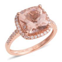 ILIANA 18K Rose Gold AAA Premium Morganite Diamond Bridal Wedding Anniversary Engagement Halo Ring Gift Jewelry for Women Ct 2.4 G-H Color SI1