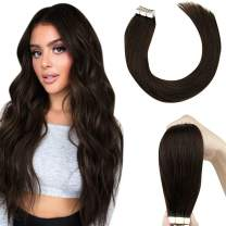 """Tape in Hair Extensions Brown Human Hair LaaVoo Tape in Remy Human Hair Extensions Brown Tape Extensions Natural Hair Darkest Brown Glue in Real Hair Extensions Silky Straight 20Pcs 50g 14"""""""