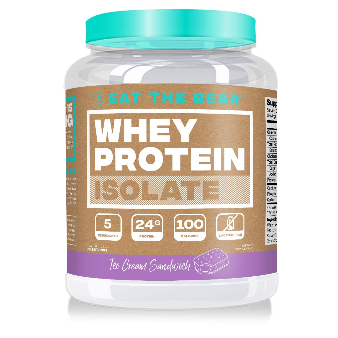 Eat the Bear, Whey Isolate Protein Powder, Keto Friendly Protein Powder, 100 Calories, All Natural, Gluten Free (25 Servings, Ice Cream Sandwich)