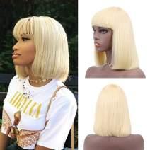 SUYYA Blonde Bob Wig Human Hair with Bangs 100% Virgin Human Hair 10 inches Bleach Blonde Short Straight Bob Wigs For Women(10 inch 613)