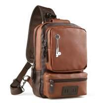 Funnideer PU Leather Sling, Water-Resistant Cross Bag Anti-theft Shoulder Pack