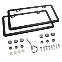 Ohuhu 2 PCS Slim Bottom License Plate Frames Matte Black Powder Coated Wont Block Letters/Stickers