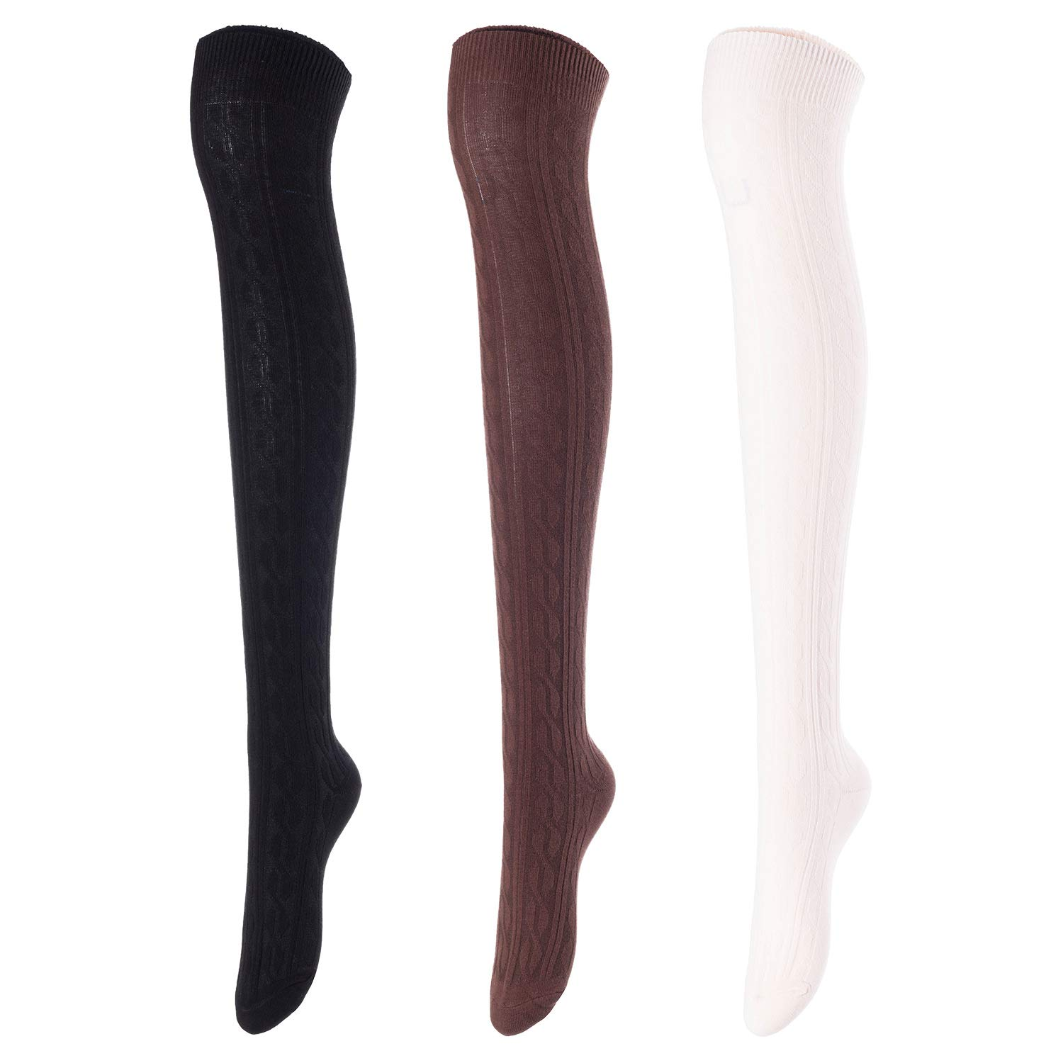 Lovely Annie Women's 3 Pairs Over Knee High Thigh High Cotton Socks Size 6-9 A1024